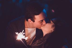 Partners kissing